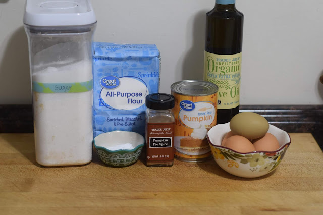 The ingredients needed to make the Classic Pumpkin Bread Recipe.