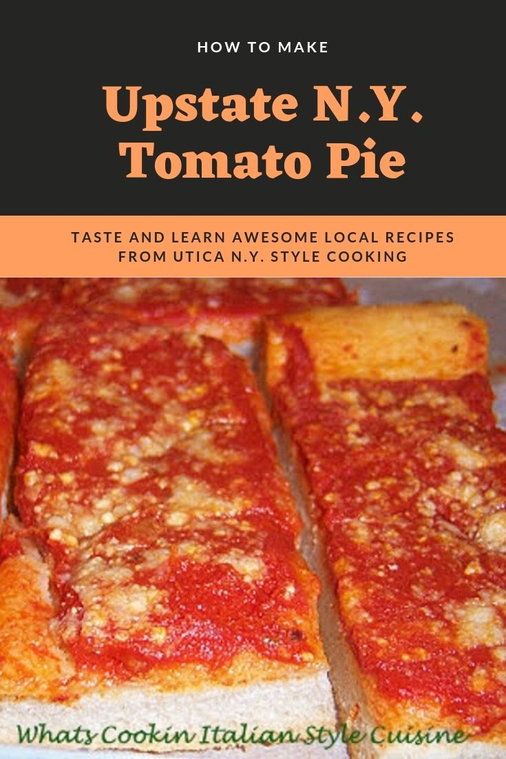this is a photo of how to make tomato pie which is a local Utica New York style cold pizza that has just sauce and grated cheese on top of pizza dough thats cooked
