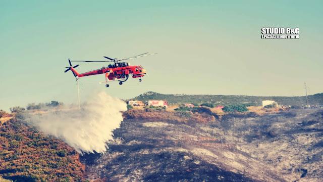 Βίντεο από την πυρκαγιά στην περιοχή Αγίου Δημητρίου - Καρακαλά στο Ναύπλιο