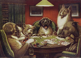 """A Waterloo,"" 1906, Cassius Marcellus Coolidge. One of a series of paintings depicting dogs playing poker. Public domain, via Wikimedia Commons."