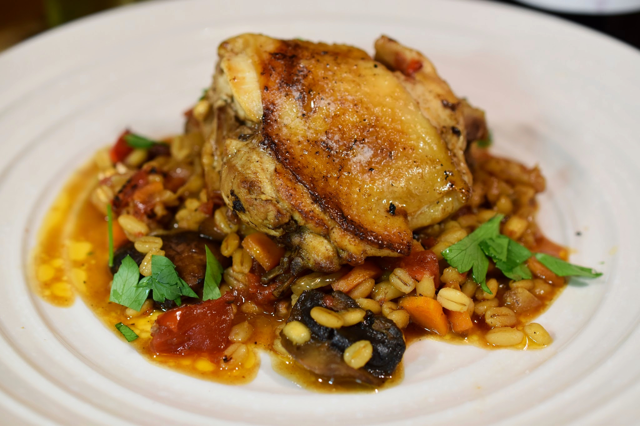 Oven-Baked Pearl Barley Pilaf with Chicken and Mushrooms