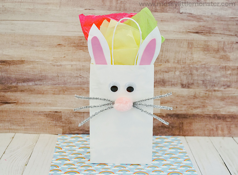 Easter crafts for preschoolers - Bunny paper bag craft