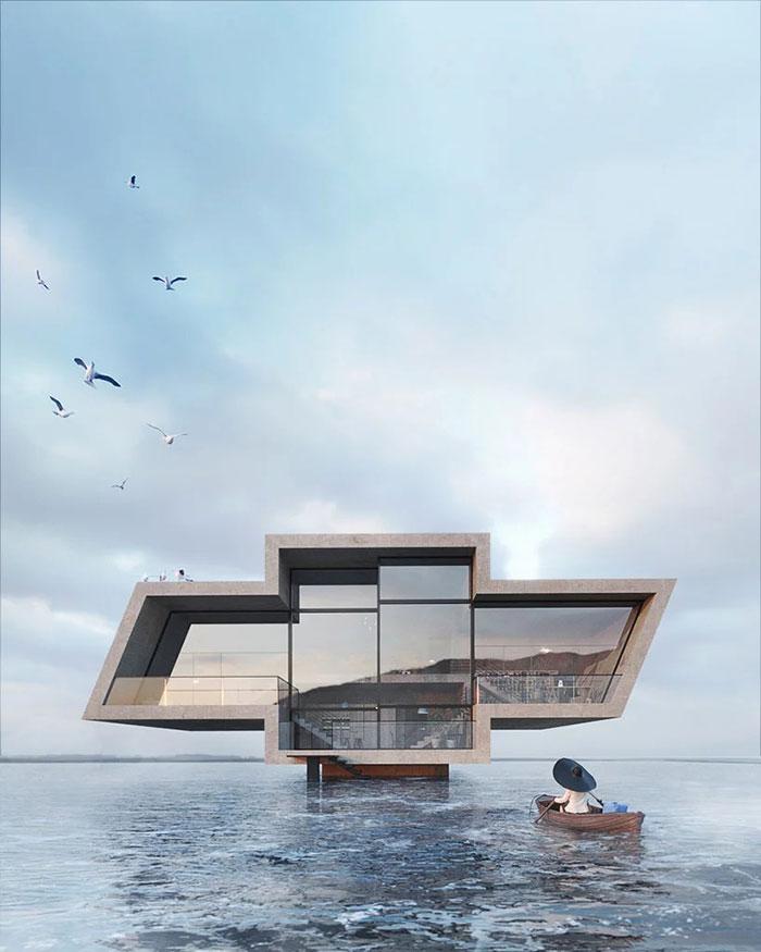 Modern concrete concept house. architect: Karina Wiciak