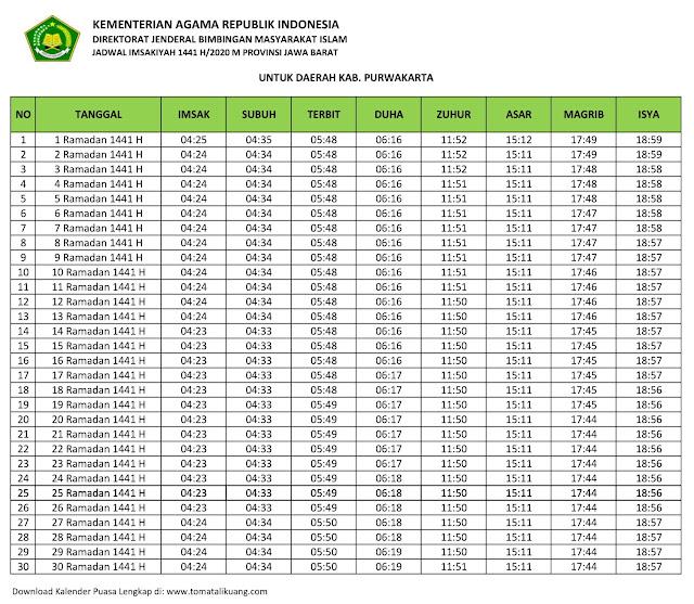 jadwal imsakiyah ramadhan buka puasa Kabupaten Purwakarta 2020 m 1441 h tomatalikuang.com