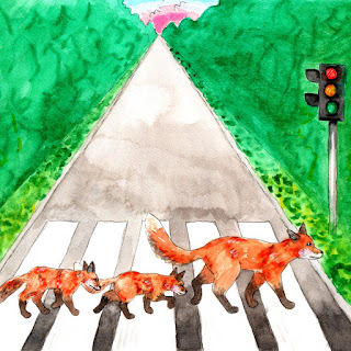 Fox family watercolor painting