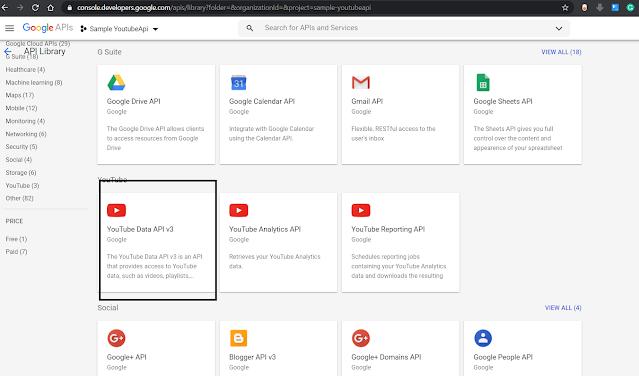 Enable Youtube Data Api from Google Developer Console