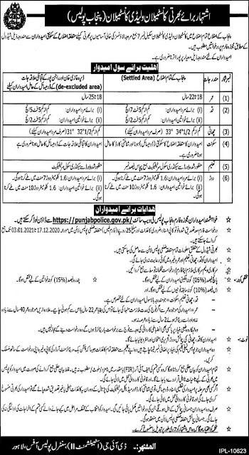 Punjab Police Department Constable Jobs