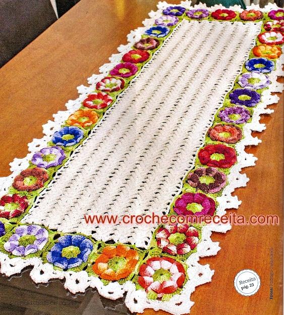 caminhos de mesa em croche com flores em croche com receita