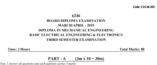 Basic Electrical Engineering & Electronics model question papers c16 mechanical march-april 2019
