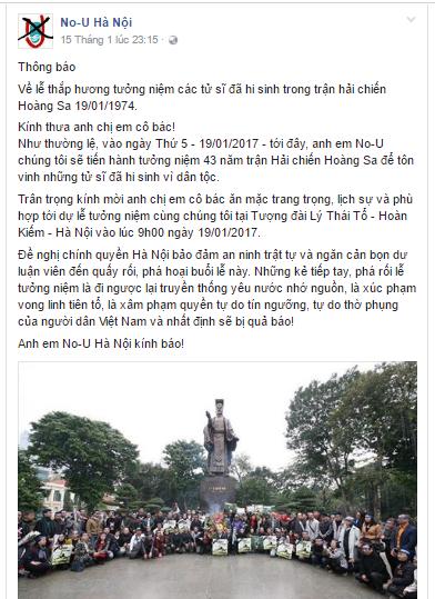No-U Hà Nội lại núp danh tưởng niệm các tử sĩ trận Hải chiến Hoàng Sa để quậy phá?