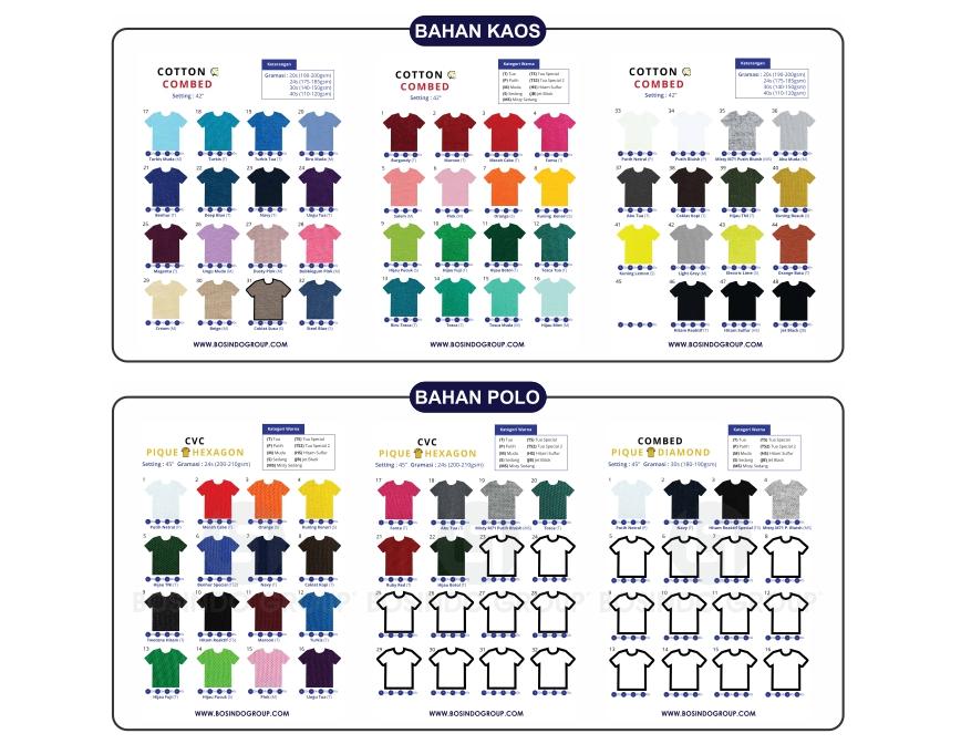 Katalog pilihan warna kaos polos Pangkajene Kepulauan