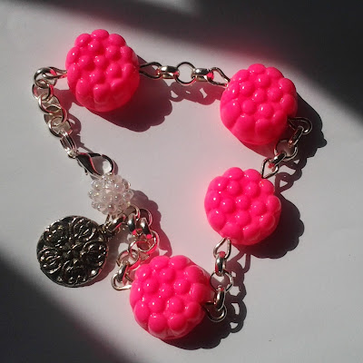 braccialetto rosa neon morositas fimo