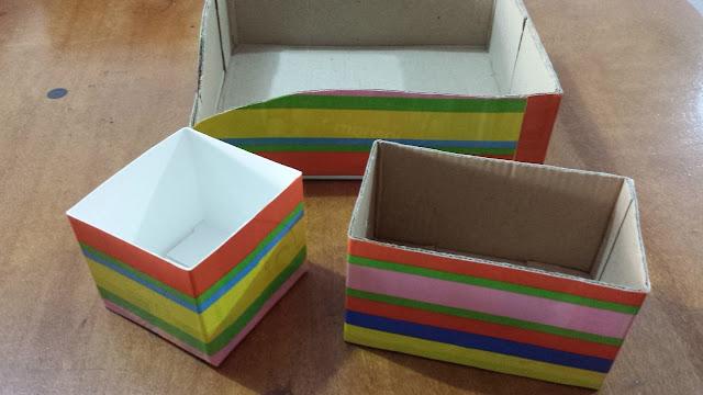 Caixa organizadora de papelão decorada com contact