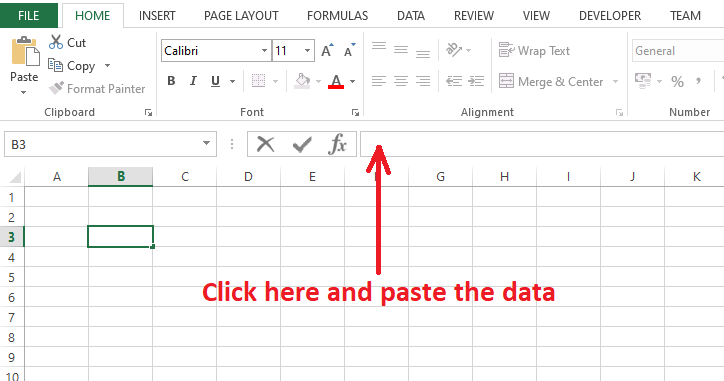 Click on the formula bar and paste the data