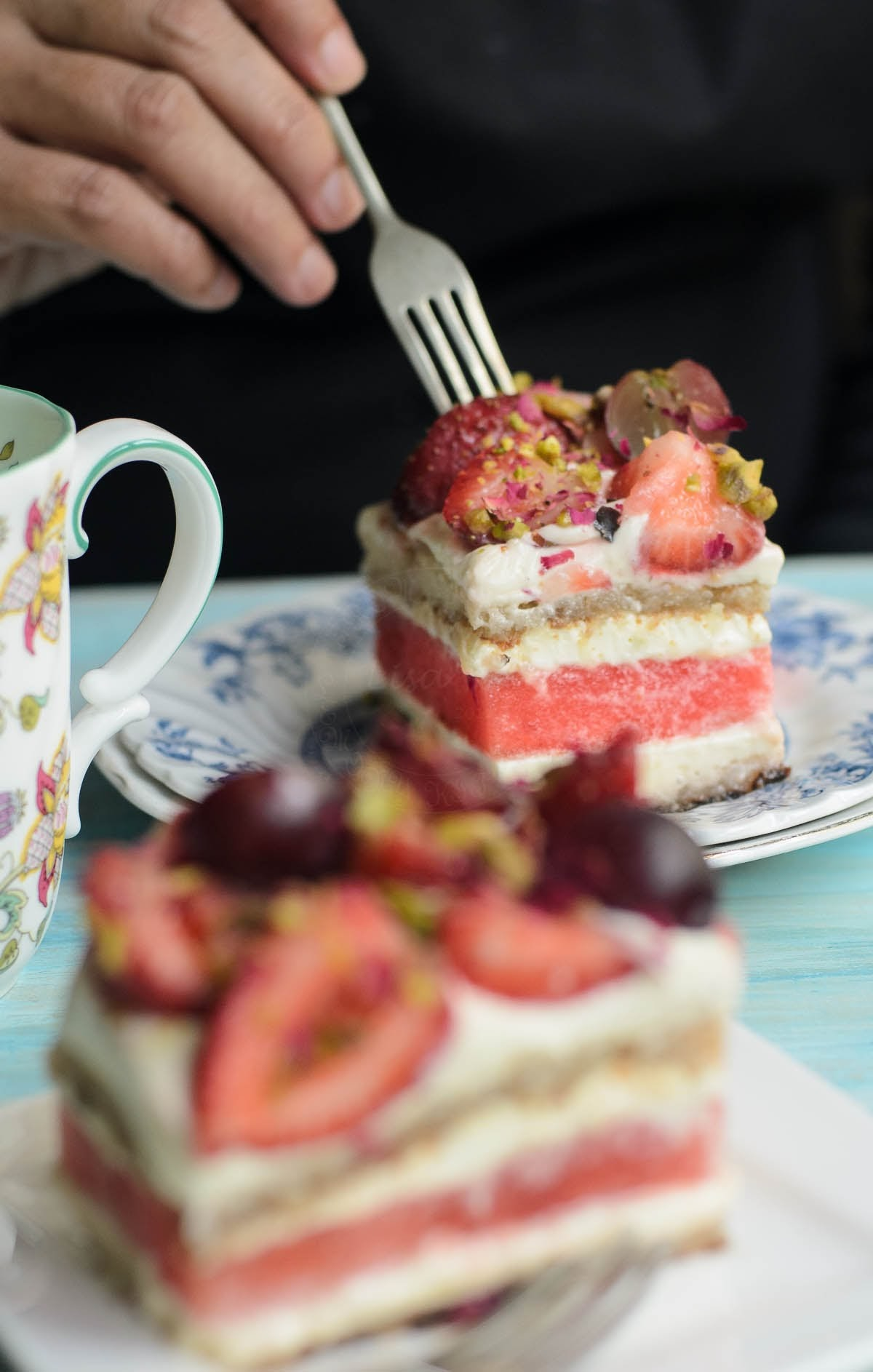 a slice of Watermelon and Strawberry Cake photo