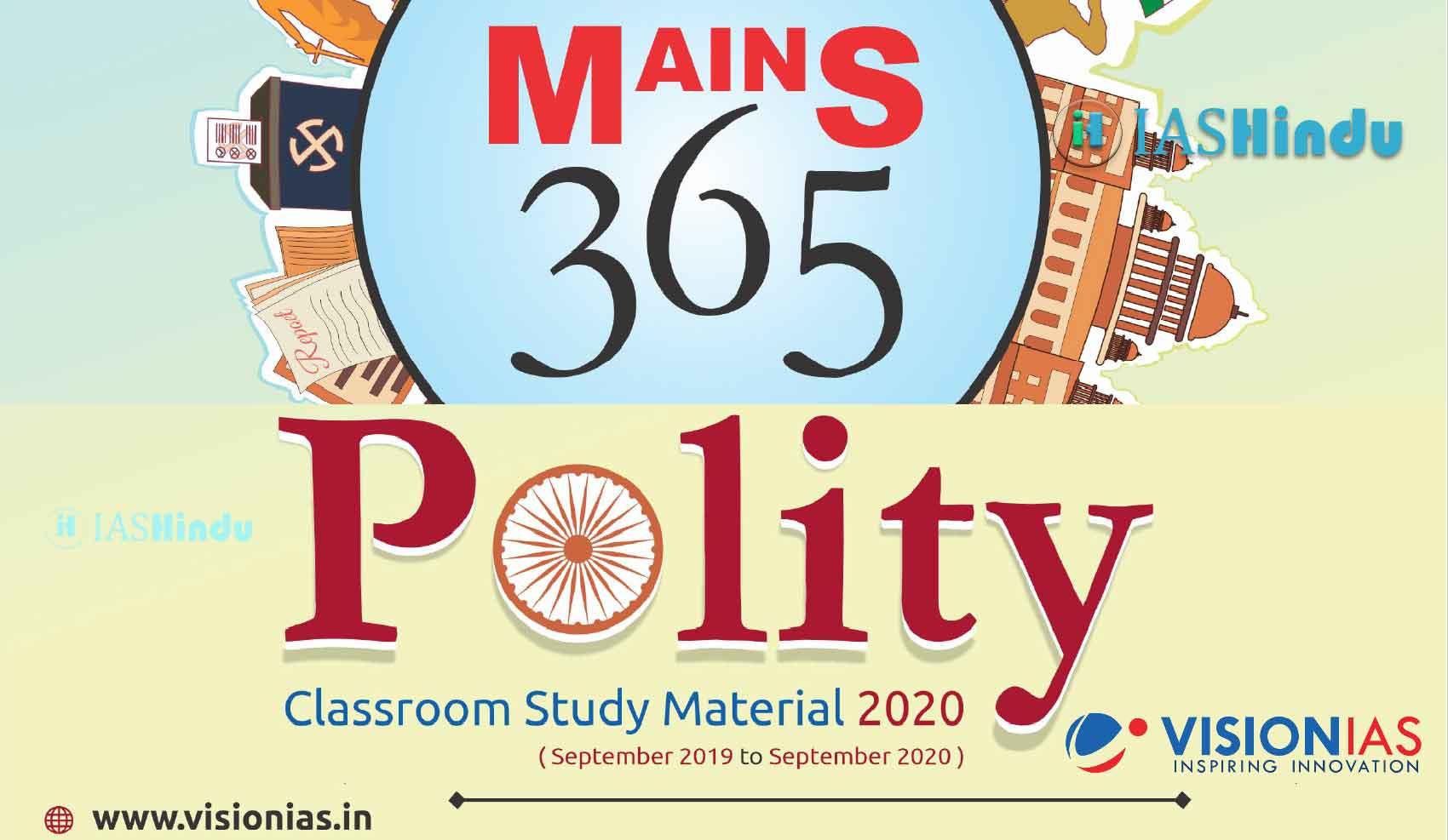 Vision IAS Mains 365 Polity 2020