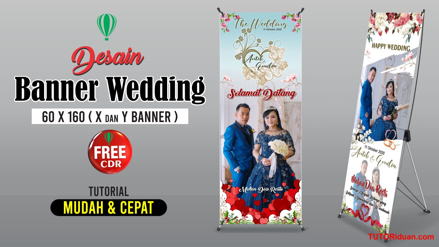 Desain X Banner Wedding dengan CorelDraw (Free CDR ...
