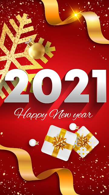 2021 Happy New Year on a red background