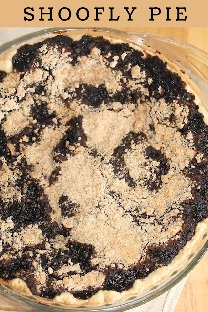 Close up photo of the top of a finished shoofly pie.