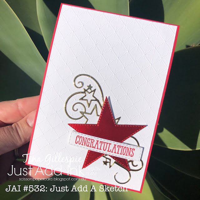 scissorspapercard, Stampin' Up!, Just Add Ink, Well Said, Stitched Stars Dies, Stitched Rectangles Dies, Dainty Diamonds 3DEF, Foil Cardstock