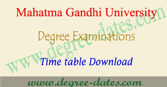 MGU degree 2nd sem time table 2018 MG university ug exam