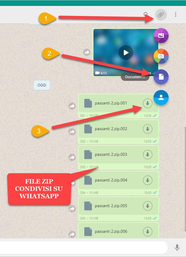 file zip condivisi tramite whatsapp