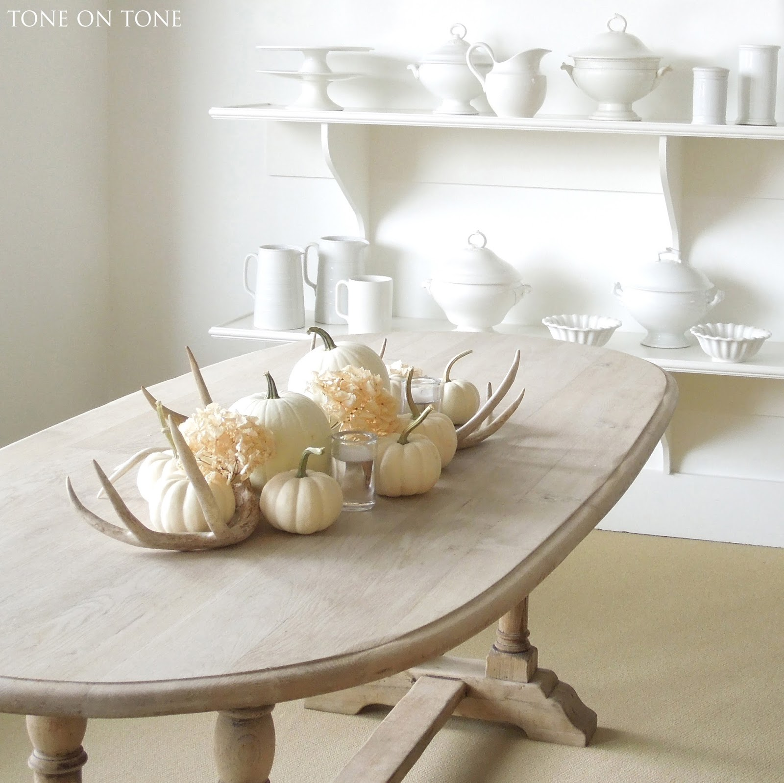 White pumpkins, antlers, and ironstone on shelves