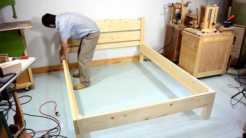 Diy como hacer una cama de dos plazas de madera pino f cil for Como hacer una base de cama