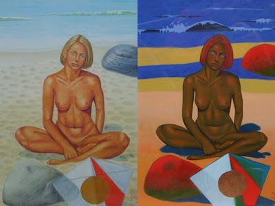 style, dessin, forme, éphémère, fille nue, fauve, château de sable
