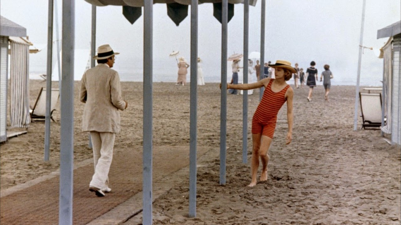 Dirk Bogarde (as Gustav von Aschenbach) encounters Björn Andrésen (as Tadzio) in Death in Venice, Search of Ideal Beauty, Directed by Luchino Visconti