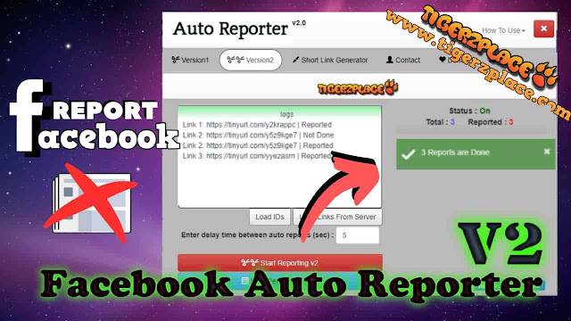 Facebook Auto Reporter v2 -- Multiple Accounts Reporting Tool