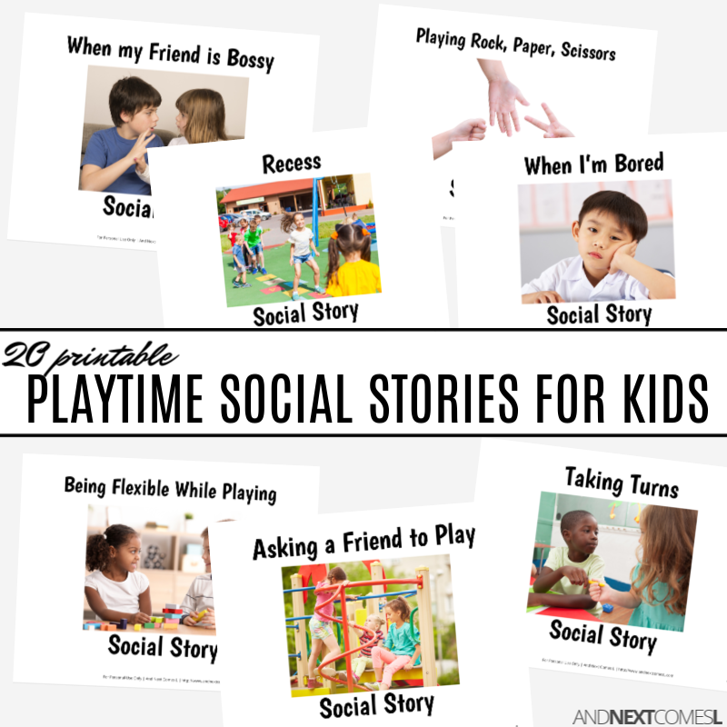 Printable social stories for kids about playtime