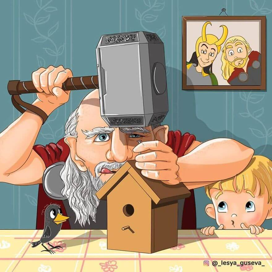 15 Beautiful Illustrations Of Popular Cartoons And Comic Characters In Old Age - Thor