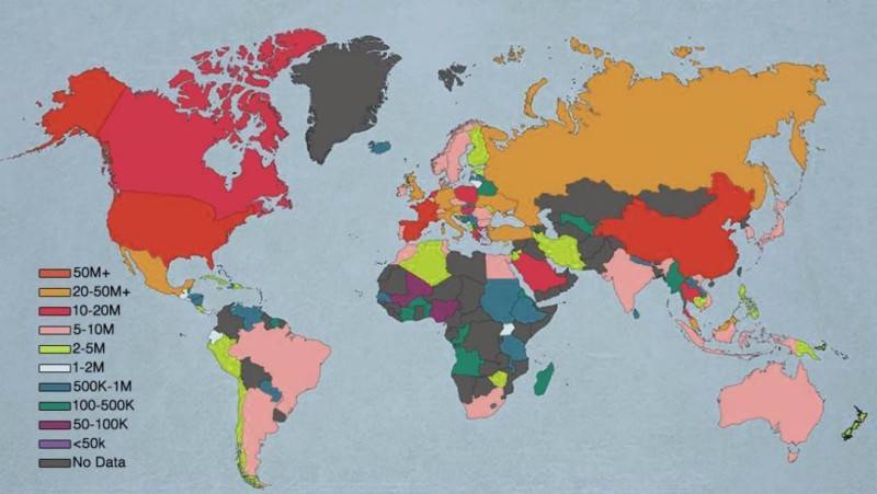 Map of Most frequently visited countries