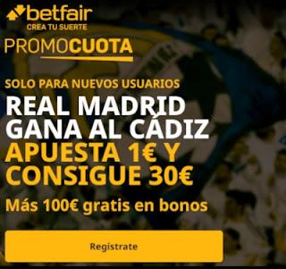 betfair supercuota Real Madrid vs Cadiz 17 octubre 2020