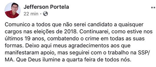 Jefferson Portela anuncia desistência de candidatura