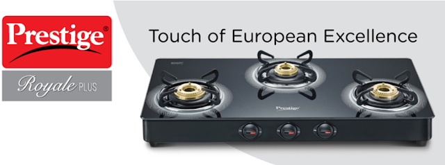 Prestige Royale Plus Schott Glass 3 Burner Gas Stove for Trouble Free and Safe Cooking