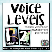 https://www.teacherspayteachers.com/Product/Voice-Level-Management-Posters-Tropical-Watercolor-Themed-3309005