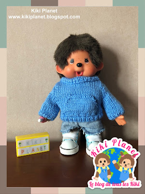 pull kiki monchhichi handmade knitted sweater vêtement doll poupée fait main tricot