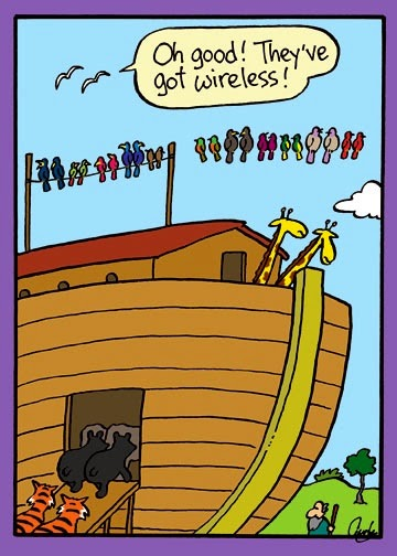 Funny Noah's Ark Cartoon Joke Picture - Oh good! They've got wireless!
