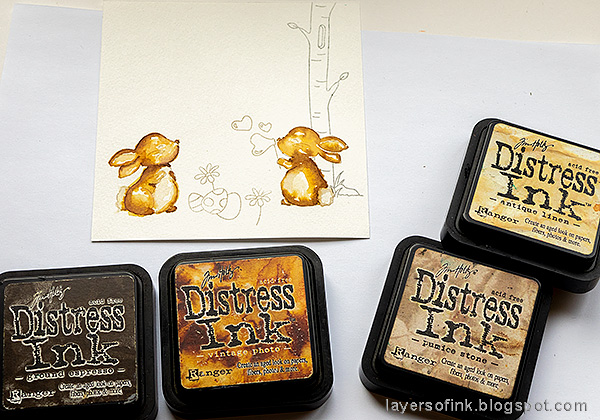 Layers of ink - Easter card with no-line coloring tutorial by Anna-Karin Evaldsson. Watercolor the bunnies with Distress Ink.