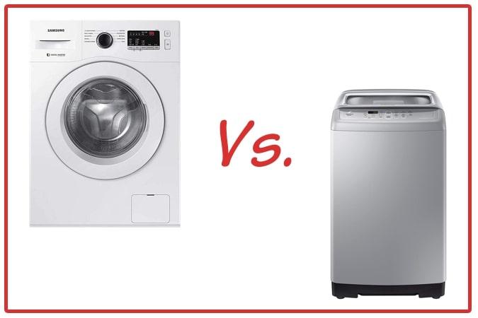 Samsung WW65R20GLSW/TL (left) and Samsung WA70A4002GS/TL (right) Washing Machine Comparison.