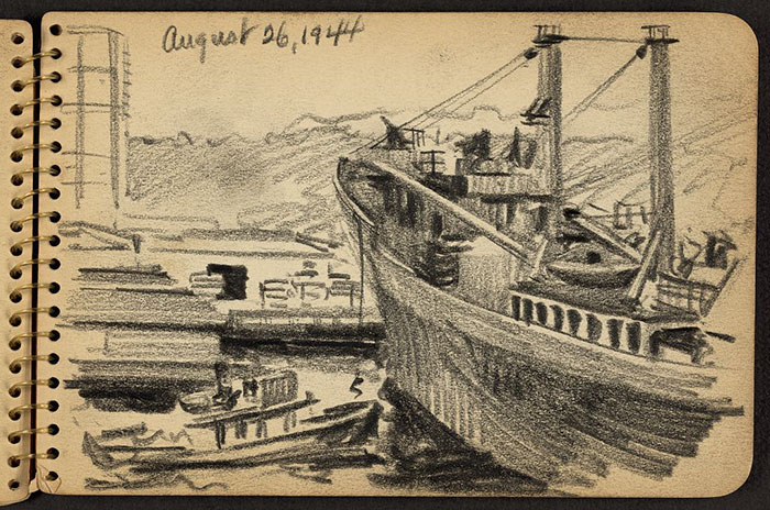 21-Year-Old WWII Soldier's Sketchbooks Show War Through The Eyes Of An Architect - Line From Ship Being Dropped To Tugboat In New York Harbor