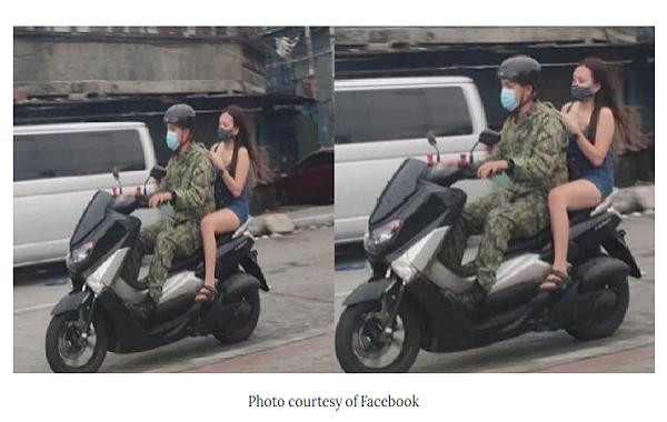 Pulis na may backride na walang suot na helmet at walang barrier, viral sa social media