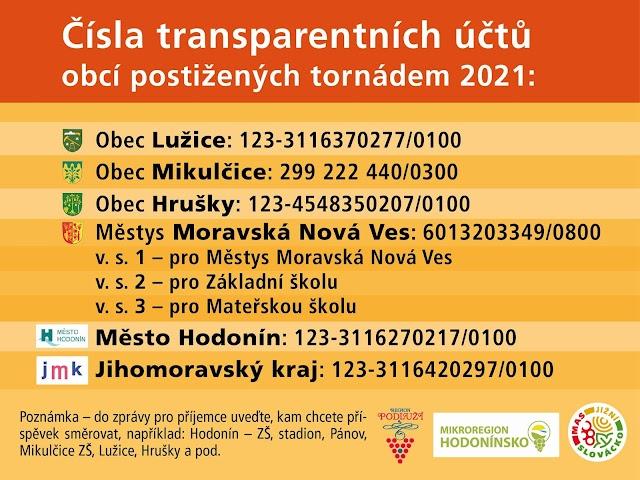 Transparentní účty po tornádu Hodonín, Lužice, Mikulčice, Moravská Nová Ves, Hrušky