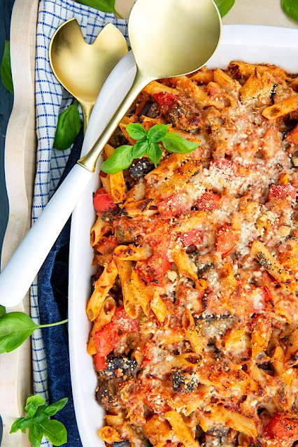 GF baked penne pasta with roasted veggies