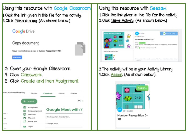 This explains how to upload the math activities to seesaw and google classroom