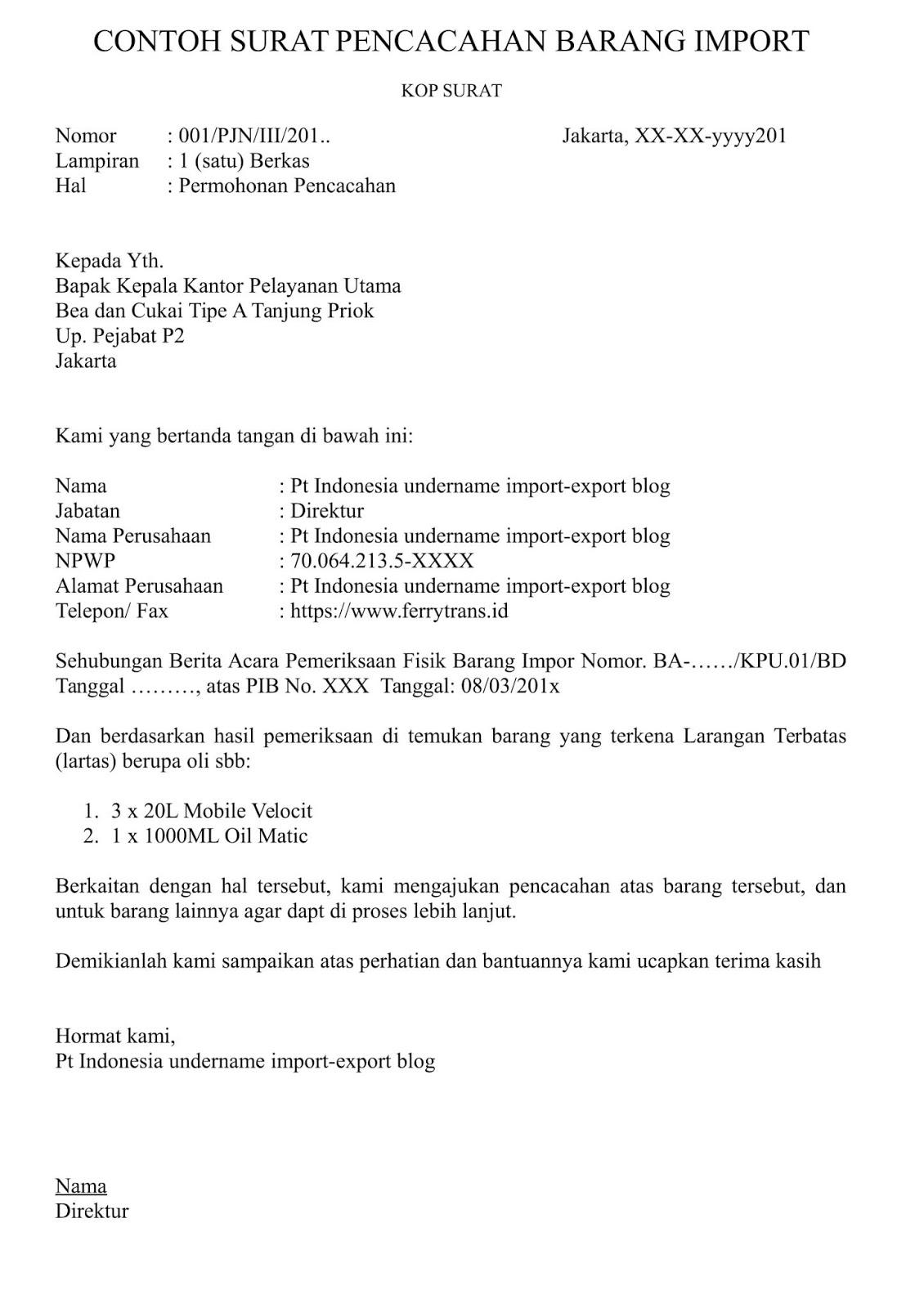 Contoh Surat Permohonan Pembukaan Pos Bc 1 1 Sementara Indonesia Undername Import Export Blog