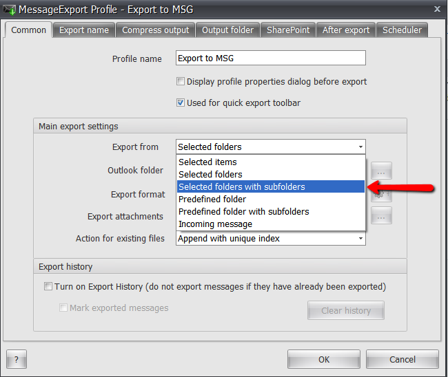 Setup MessageExport to export the selected Outlook email folder.