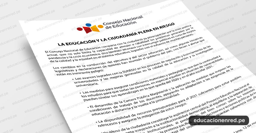 COMUNICADO CNE: La educación y la ciudadanía plena en riesgo